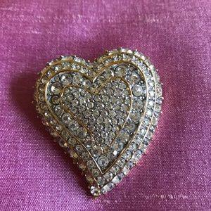 CINER rhinestone heart brooch